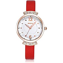 Skone Women Casural Dress Rhinestone Watch High Quality PU Leather Band Easy Buckles 500604 (Organge)