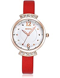 Reloj de diamantes de imitación vestido de las mujeres Skone Casural de cuero de la PU de la alta calidad Fácil de hebillas 500604 (color naranja)