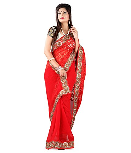 Yuvati Sarees Border Work Saree (9218_Red)