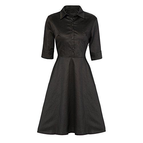 ESHOO Femme Robe de vintage a Demi Manche Robe de soirée Swing Noir