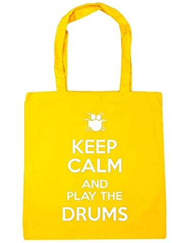 HippoWarehouse Keep Calm and Play the Drums Tote Shopping Gym Beach Bag 42cm x38cm, 10 litres