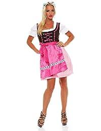 4211 Fashion4Young Dirndl 3 tlg.Trachtenkleid Kleid Mini Bluse Schürze Trachten Oktoberfest