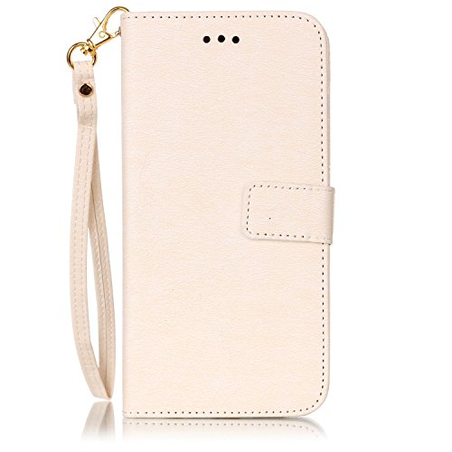 iPhone Case Cover Fleurs pressées de couleur unie PU Housse en cuir avec la main Sac à bandoulière pour IPhone 7 Plus ( Color : Pink , Size : IPhone 7 Plus ) White