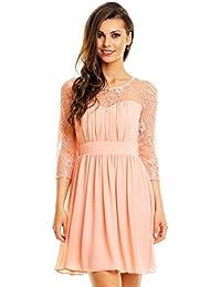 elegantes Abendkleid Cocktailkleid mit bestickter Spitze Chiffon Kleid