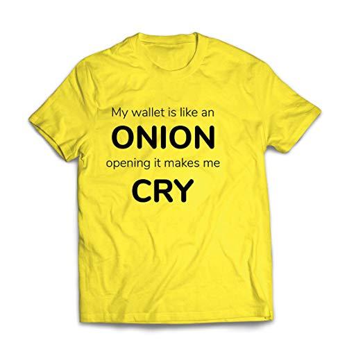 lepni.me Männer T-Shirt Meine Brieftasche ist wie eine Zwiebel, Kein Geld Lustiger Job, Büro-Humor (X-Large Gelb Mehrfarben)