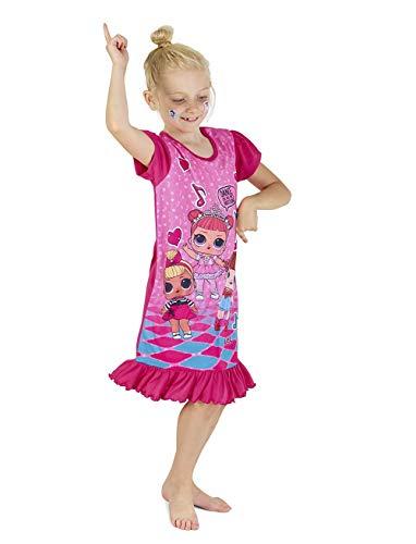 L.O.L Surprise Nightie Oder Shortie Puppen Confetti Pop Nachthemd Kleider für Mädchen Weiche Baumwolle Lil Outrageous Littles (5-6 Jahre, Rosa) (Puppe Nachthemd Mädchen Und)