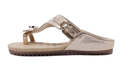 Minetom Femmes Été Élégant Strass Perlés Sandales Plates Tongs  Anti-dérapant Chaussures De Plage Respirant ... 44f76945b97a