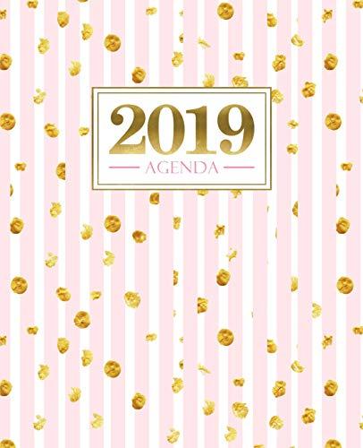 Agenda 2019: 190 x 235 mm : Agenda 2019 semana vista español : 160 g/m²: Rayas rosas con manchas doradas 6859 por Papeterie Bleu