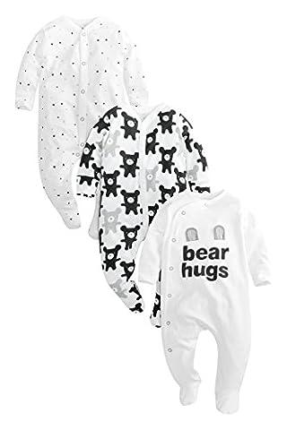next Lot de trois grenouillères «bear hugs» (0 à 2ans) Coupe standard Bébé Unisexe Blanc/Noir 9-12 mois