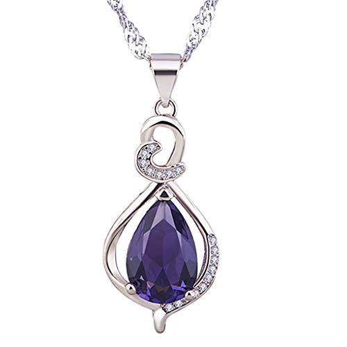 UINGKID Damen Halskette Anhänger Schmuck Frauen Einfache Exquisite Temperament Silber Tropfen Amethyst Liebe Schlüsselbein Kette