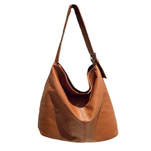 YAAGLE große damen Schultertasche einfach Umhängetasche Henkel Tasche Shopper weiblich tote Bag braun braun
