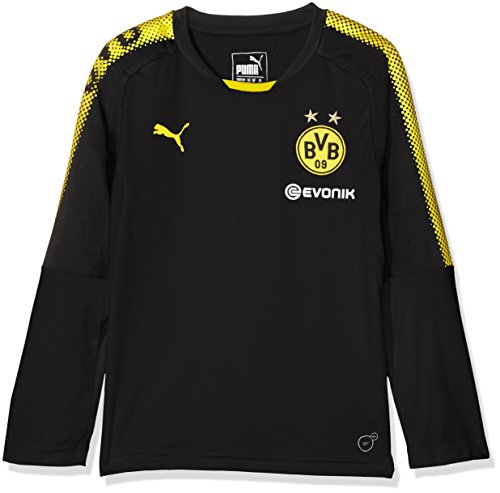 Puma Kinder BVB LS Training Jersey with Sponsor Logo T-Shirt, Black-Cyber Yellow, 128 (Emblem T-shirt Schwarz)