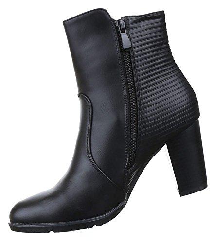 Damen Stiefeletten Schuhe Leicht Gefütterte Boots Schwarz 36-40 Schwarz
