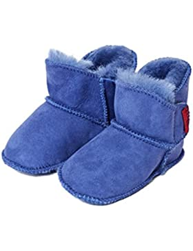 Lammfell Babyschuhe Klettverschluss blau (einfacher Klettverschluss)