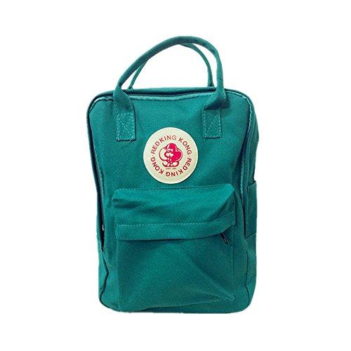 Amoji Classic Schule Rucksack Canvas Tote Tagesrucksack Outdoor Reise Medium Rucksack Tasche, dunkelgrün -