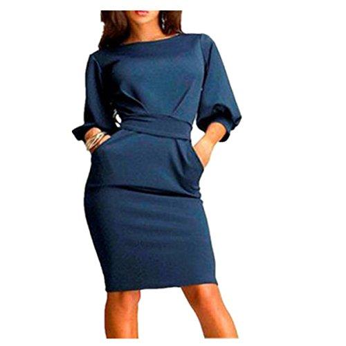 Elecenty Damen Bürokleid Solide Cocktailkleider Halbe Ärmel Kleidung Rock Abendkleider Rundhals Frauen Mode A-Linie Kleid Partykleid Schlank Hemdkleid Blusekleid Sommerkleid (M, Dunkelblau)