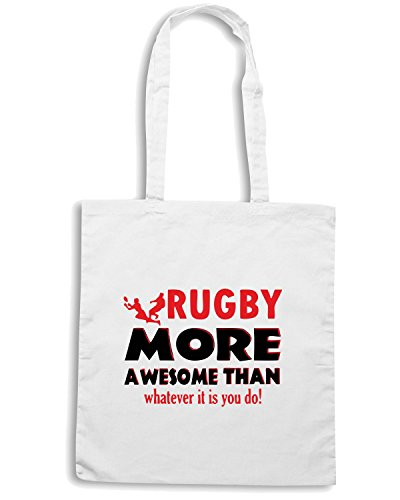 T-Shirtshock - Borsa Shopping TRUG0004 awesome rugby designs logo Bianco