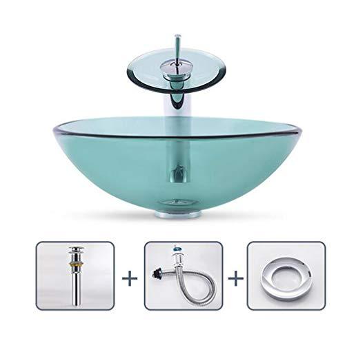 AILEYOU Bad Waschbecken, Garderobe Transparente, Runde Glaswaschbecken Art Sink Über Der Theke, Standard-45-mm-Wasserauslass A - Runde Garderobe