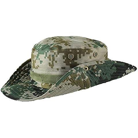 Combate Militar de aiyuda Selva Grande Brimmed Sun Protección UV cubo tapa Boonie Pesca Sombreros Para Senderismo Caza Wargame camuflaje, hombre, color Verde - camouflage, tamaño talla única