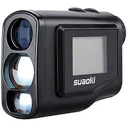 Suaoki - 600m Telémetro Prismático Profesional Monocular Medidor de Distancia Larga (LCD Display Lateral, 6x Amplificación, Rango y Alcance Calculatora, Para Golf, Uso Táctico, etc.) Negro