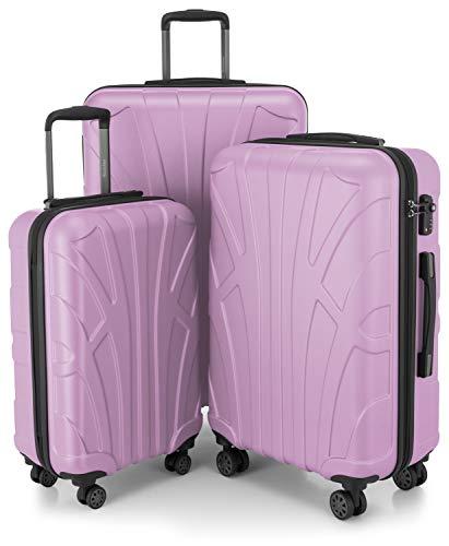 SUITLINE SUITLINE - 3er Koffer-Set Trolley-Set Rollkoffer Hartschalen-Koffer Reisekoffer, TSA, (S, M & L), Set di valigie 76 centimeters 210 Viola (Flieder)