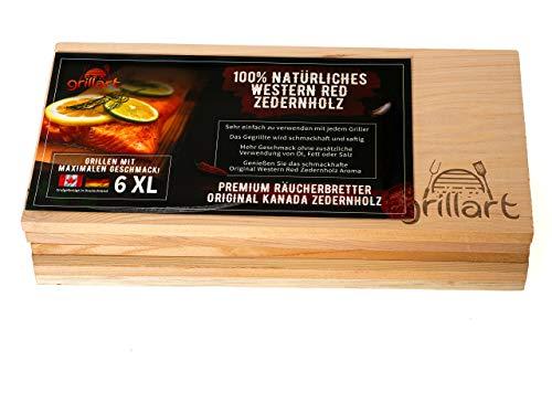 414hGJzyVdL - 6 Pack XL Grillbretter - Zedernholzbrett zum Grillen - Räucherbretter aus Zedernholz von grillart® hergestellt aus 100% natürlichem Western Red Zedernholz für einen besonderen Grillgeschmack