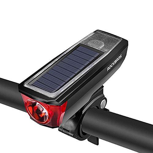 MAlex Luce Notturna per Bici fari per Auto Ricarica Solare clacson Torcia Mountain Bike Guida Nottu