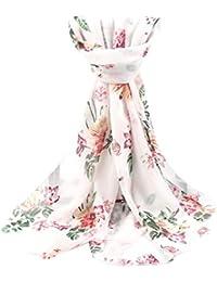 ad93b55268d9 Écharpe Femme Fille Vintage Longra Imprimé Echarpes en Mousseline Femme  Châle Femme Rétro Foulards Long Femme