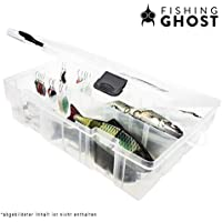 FISHINGGHOST Lure Box - Dimensiones: 35 x 22 x 9 cm, a prueba de agua, caja de cebo, caja de aparejos para señuelos y cebos blandos, compartimentos interiores ajustables individualmente, regla práctica en el exterior de la caja