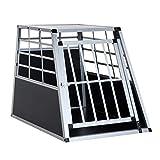 PawHut Gabbia Box per Trasporto Cane Trasportino Auto per Viaggio Lega d'Alluminio 65 × 91 × 69cm
