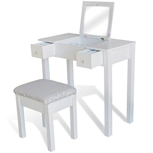 vidaXL-Tocador-con-taburete-y-espejo-plegable-color-blanco