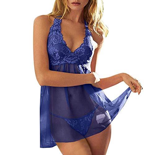 Damen Sexy Lace Dessous Babydoll Reizwäsche Nachtwäsche Erotik Spitze Lingerie Rock Transparent Versuchung Babydoll Unterwäsche + G-String (XXXL, Blau)