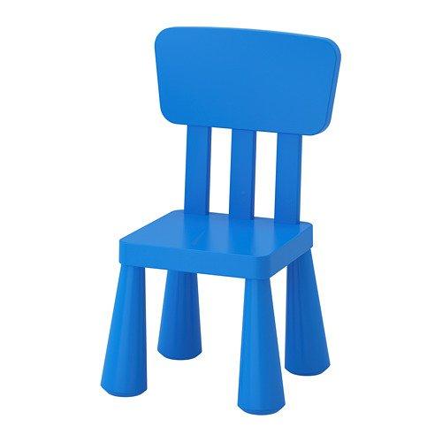 "IKEA Kinderstuhl \""MAMMUT\"" Kindermöbel Stuhl in kräftigem BLAU aus unbedenklichem Kunststoff - BxTxH: 39x36xx67cm"