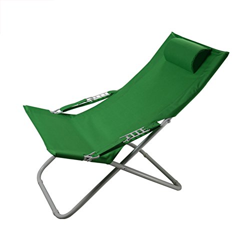 YIXINY Fauteuils inclinable Y-004 Chaise Pliante Fer + Chaise de Plage de Plage Chaise d'extérieur Bleu + Vert (Couleur : Green)
