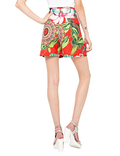 Desigual Damen Short Flores 2 Rot (SANGRIA 3161)