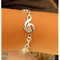 Musica a tema lega Chiave di violino braccialetto di disegno - piccola dimensione - 18 centimetri lungo - Bambini Dimensione