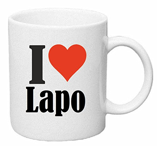 taza para café I Love Lapo Cerámica Altura 9.5 cm diámetro de 8 cm de Blanco