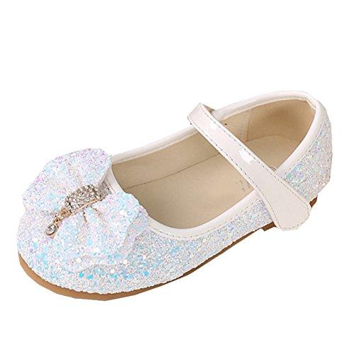 Scothen Prinzessin Schuhe Absatz Mädchen Kostüm Ballerina Schuhe-Schleife Pailletten Karneval Festlich für Kinder Ballerina Schuhe Festliche Mädchenschuhe Taufschuhe Kommunion Hochzeit Feier