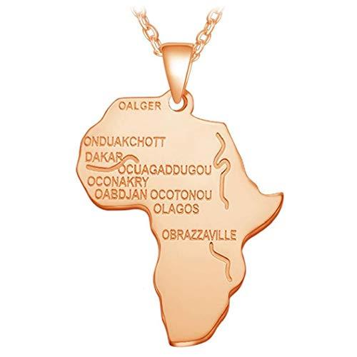 Afrika-Karte Form Halskette Mit Buchstabe-Drucken Jungen Einfacher Cooler Ausschnitt Zubehör Gute Übereinstimmung Mit Kleidung