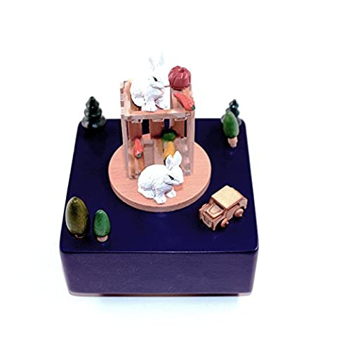 Boîte à musique en bois Lapin Mignon carrousel en bois Boîte à musique cadeau de Noël Anniversaire Mariage Artisanat Vintage Décoration maison pour l'art,Saint Valentin, anniversaire de mariage,mariage,enfants jouets, anniversaire,cadeaux,festival,l'obtention du diplôme et de souvenirs activités célébrant etc