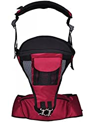 Dehang - (2 en 1)Mochila Portabebés Multifuncional con Taburete Hipseat Montura lumbar para Bebés niños niñas - Rojo