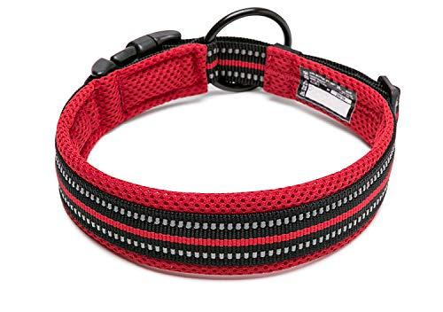 Nylon-mesh-material (Tineer einstellbare reflektierende Nylon Hundehalsbänder gepolstert weich atmungsaktiv Mesh gepolsterte Halskette Halsband für alle Rassen Hundetraining (M (40-45cm), Red))