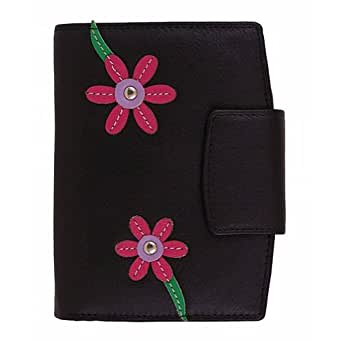 Mala Leather Blossom Black Tri Section Purse