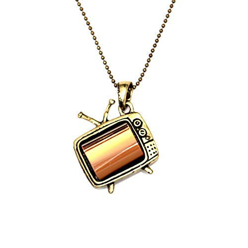 WeAreAwesome Fernseher TV Gerät Halskette - ca. 70cm lange Kette - Anhänger retro Röhrenfernseher Antenne Metall bronze messing gold