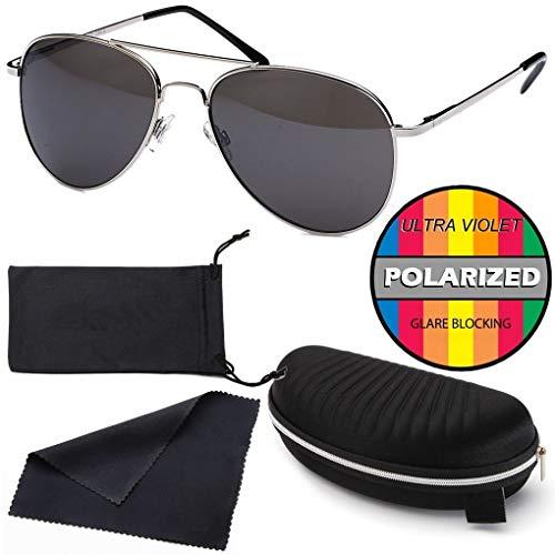 Hatstar Polarisierte Pilotenbrille Verspiegelt Fliegerbrille Sonnenbrille Pornobrille Brille mit Federscharnier (60 Polarisiert | Rahmen Silver - Dunkelgrau)