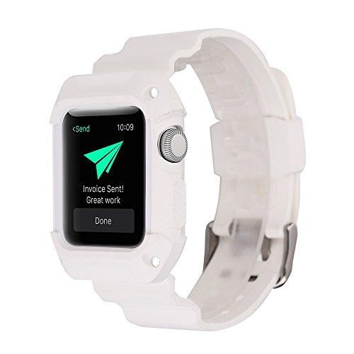 Silicone braccialetto da polso Band per Apple Watch Series 1/238mm o 42mm Peibo SW513leggero sport Wristband Watch Band, White