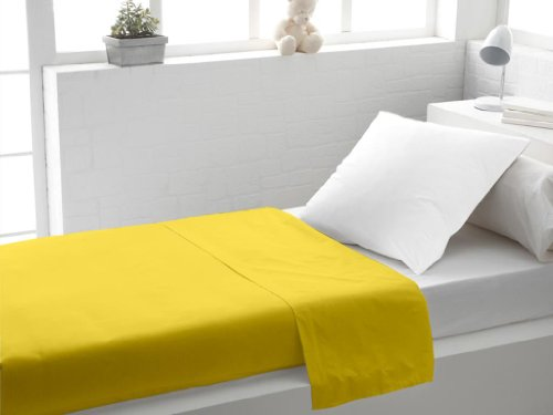 Sábana encimera Lisa 180x290 de algodón Amarilla