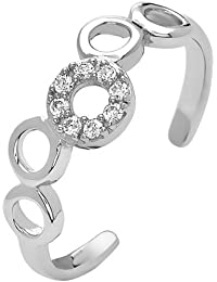 Pori Jewelers 18kt White Gold-Plated Sterling Silver Multi-Circle Micro-Pave CZ Adjustable Toe Ring
