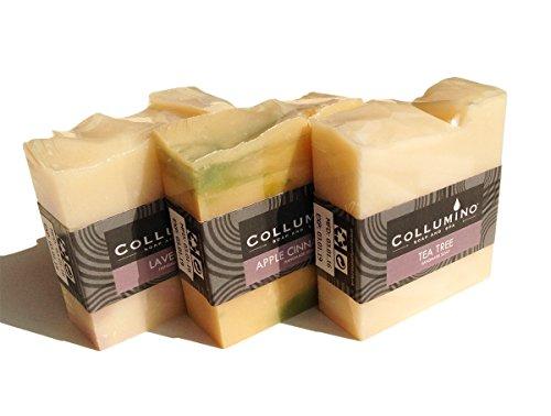 Selection Packung Collumino Luxury Duftende Kräuter Spa Seifen Kuchen Seifenriegel mit reinen ätherischen Ölen 3 x 100g - Lavendel - Teebaum - Apfel & Zimt -