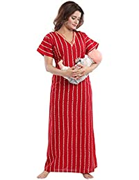 TUFAB Womens Cotton Fabric Beautiful Print Feeding Maternity Pregnancy  Nighty Night Gown 16e8763d0